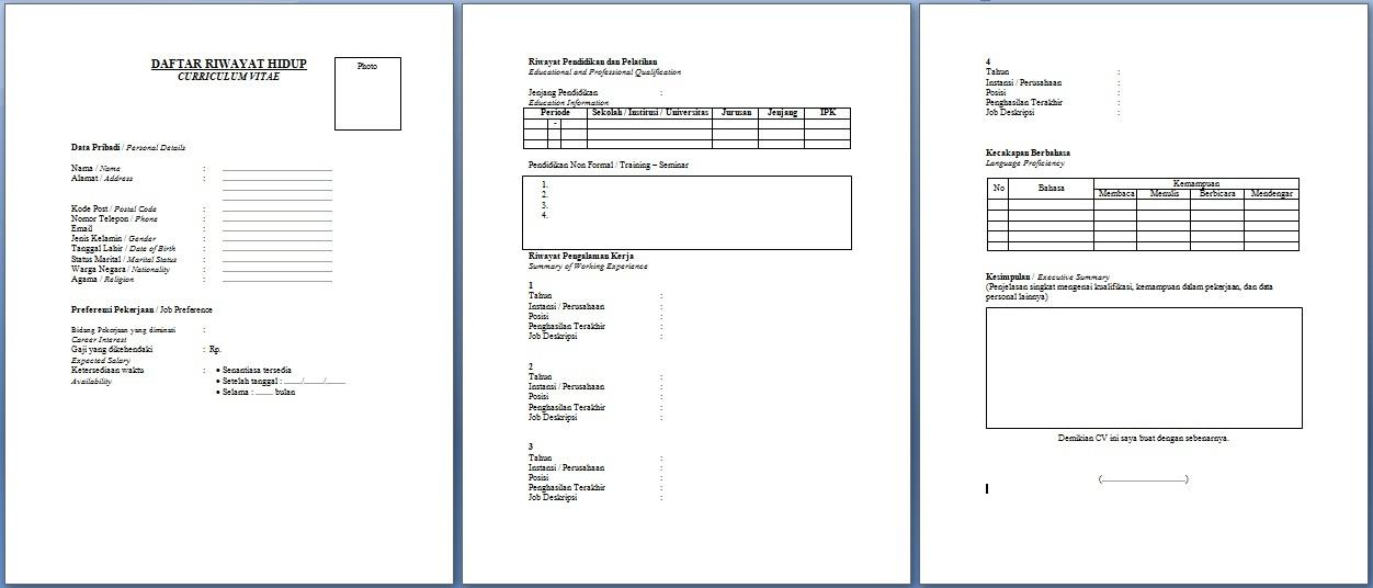 Contoh Daftar Riwayat Hidup Curriculum Vitae Cv Bahasa Indonesia